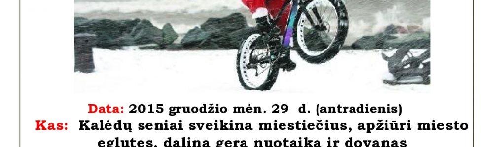 Stori Kalėdų seniai su storais dviračiais